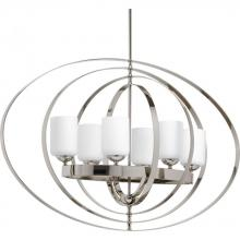 Progress P3940-104 - 6-Lt. extra large oval foyer fixture with etched opal glass.
