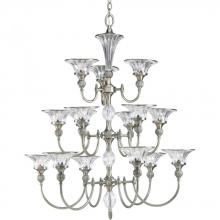 Progress P4508-101 - Fifteen Light Classic Silver Clear Crystal Glass Up Chandelier