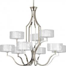 Progress P4646-104WB - 9-Lt. 2-tier Polished Nickel Chandelier with Bulb