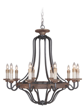 Craftmade 36510-TBWB - Ashwood 10 Light Chandelier in Textured Black/Whiskey Barrel