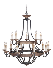 Craftmade 36515-TBWB - Ashwood 15 Light Two Tier Chandelier in Textured Black/Whiskey Barrel