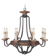 Craftmade 36528-TBWB - Ashwood 8 Light Chandelier in Textured Black/Whiskey Barrel