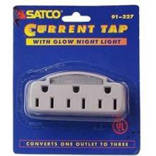 Satco Products Inc. 91/227 - White Single to Triple Adapter With Glow Light 15A-125V, 1875W