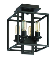Jeremiah 41554-ABZ - Cubic 4 Light Semi Flush in Aged Bronze Brushed