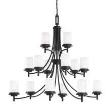 Sea Gull 31663BLE-839 - Fluorescent Winnetka Fifteen Light Chandelier in Blacksmith with Satin Etched Glass