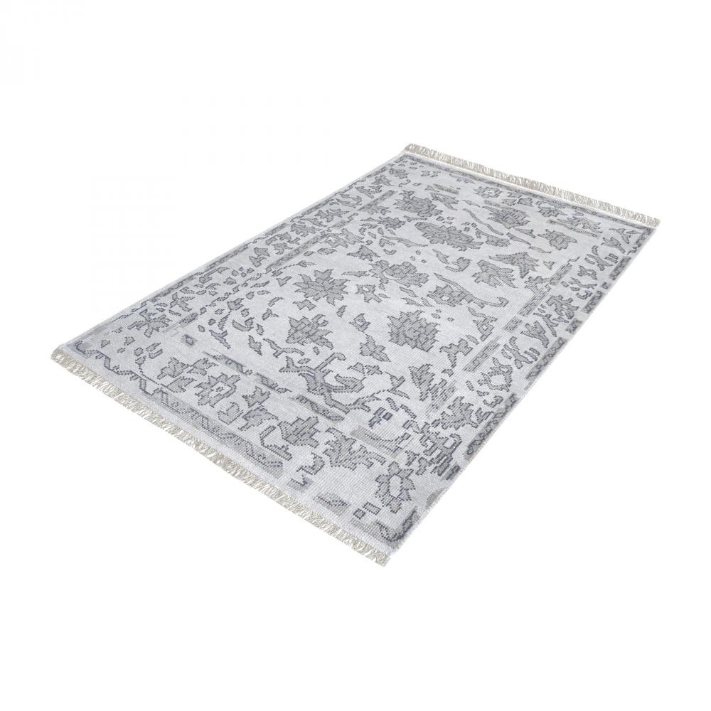Harappa Handknotted Wool Rug In Grey - 9ft x 12f