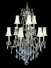 Framburg 9289 AS/BLACK - 9-Light Antique Silver Czarina Foyer Chandelier